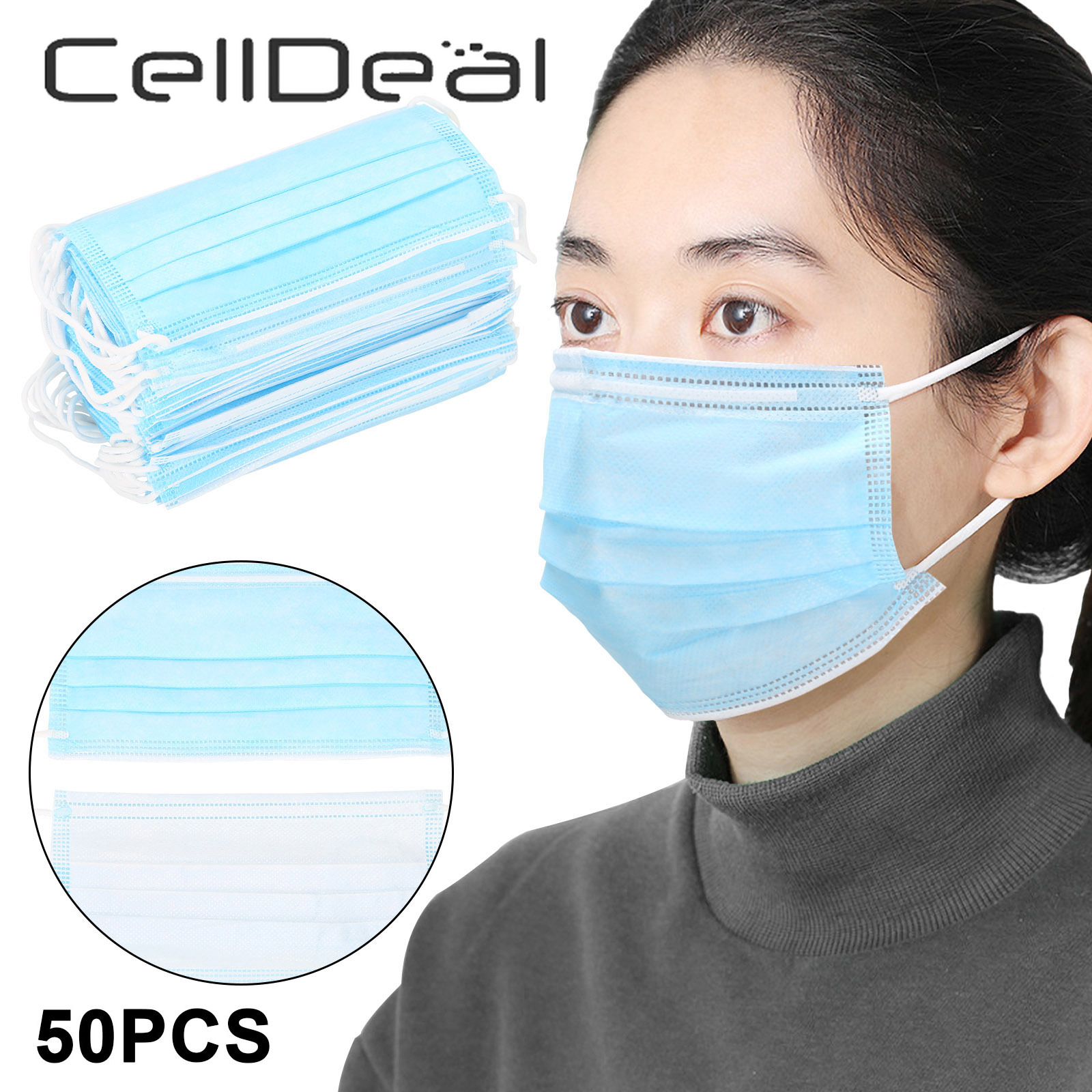 CellDeal 50 PCS 3 Layers Protective Face Mouth Masks Daily Protect Mask Facial Dust-Proof Safety Masks Unisex Cotton  Microfiber