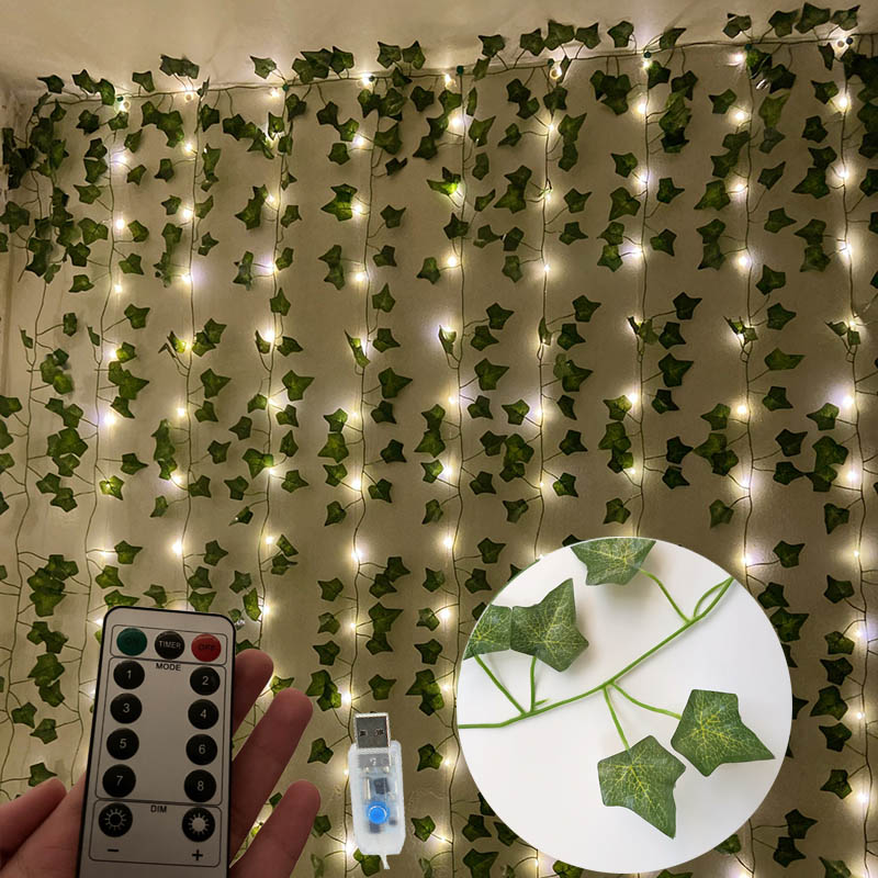 Artificial ivy Artificial plants creeper leaves for decoration fake vines hanging ivy on the wall DIY with LED String