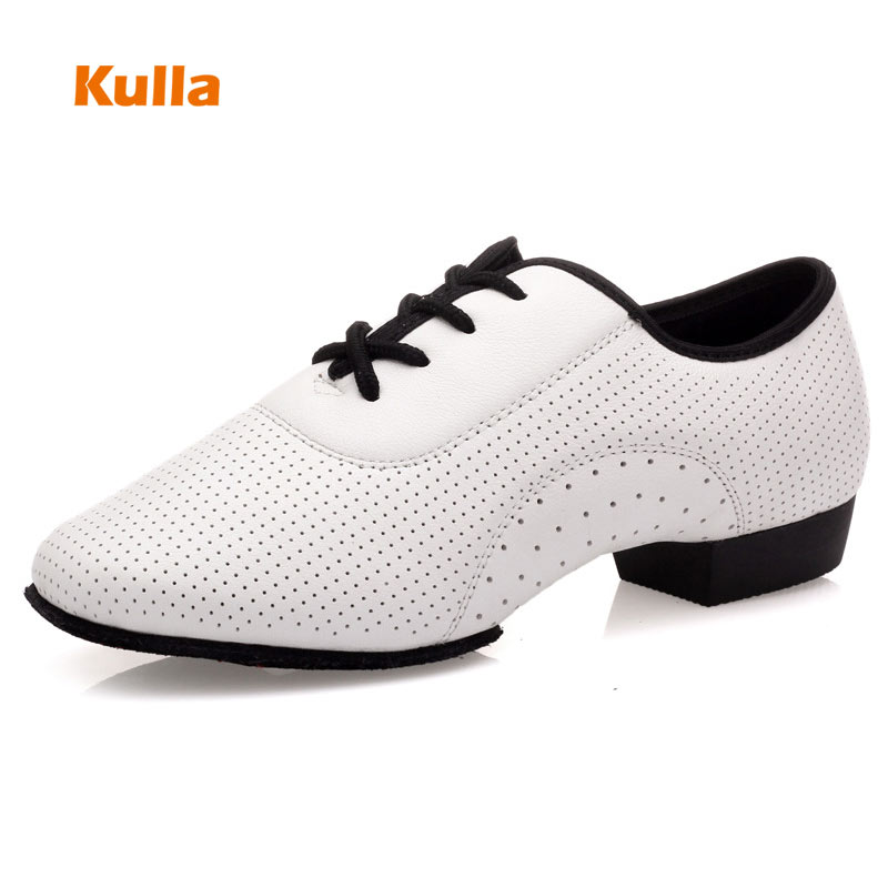 Women Men Latin Dance Shoes White Leather Soft Sole Modern Shoes Sports Dancing Shoes Man Ballroom Dance Square Large Size 34-45