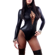 Porn Sexy Underwear Women Erotic Glazed Patent Lingerie Leather BodySuit One-Piece Stage Strap Pole Dance Jumpsuit Babydoll Cost(China)