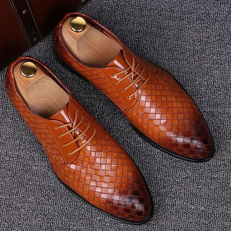 Formal Leather Shoes Men Dress Business Shoes Male Geometric Red Oxfords Party Wedding Casual Men's Flats Chaussure Homme