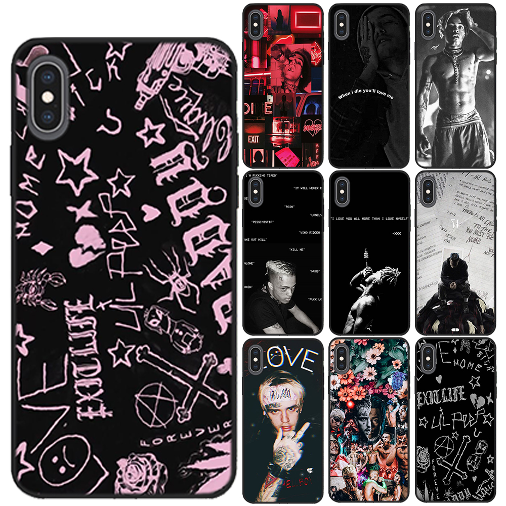 Xxxtentacion <font><b>Lil</b></font> <font><b>Peep</b></font> Soft TPU Black <font><b>Case</b></font> For Coque <font><b>iPhone</b></font> 11 Pro Max X XS Max XR <font><b>8</b></font> 7 6 6S Plus 5 5S SE Silicon Phone Cover image