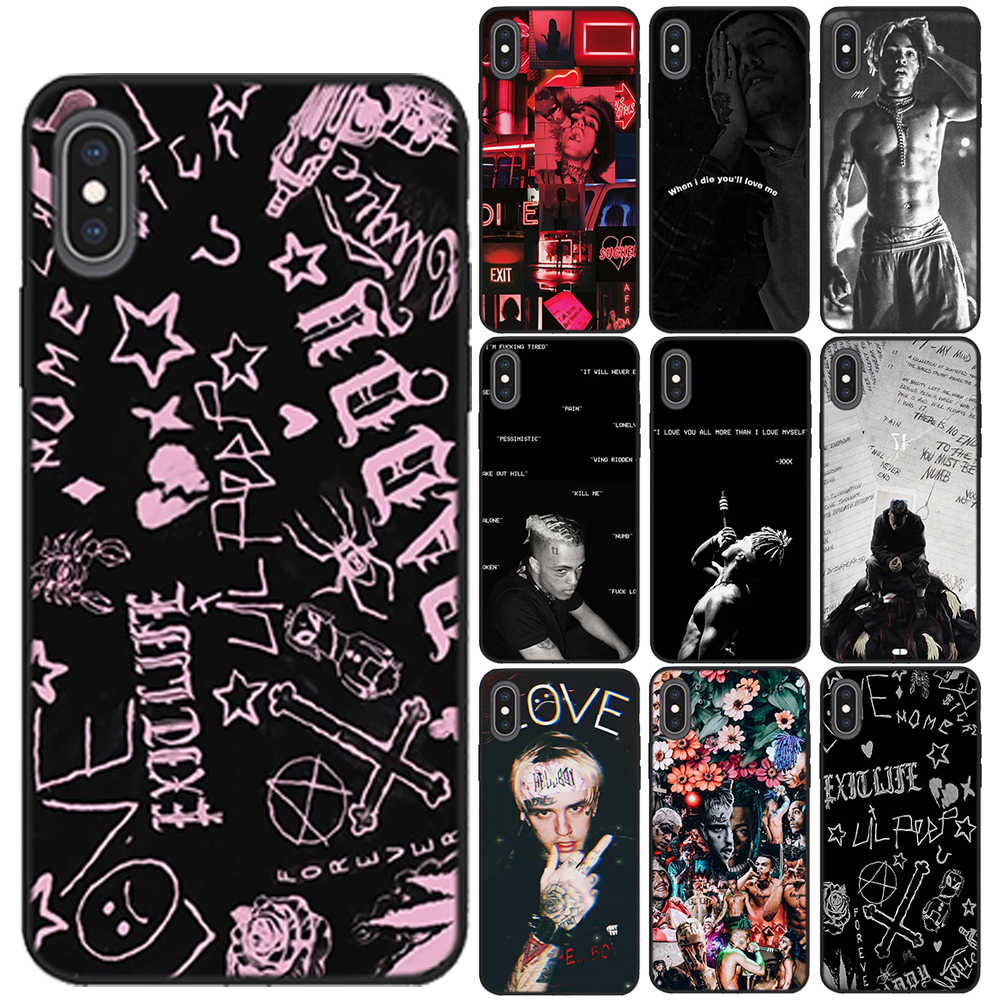 Xxxtentacion lil peep 소프트 tpu 블랙 케이스 coque iphone 11 pro max x xs max xr 8 7 6 6 s plus 5 5 s se 실리콘 폰 커버