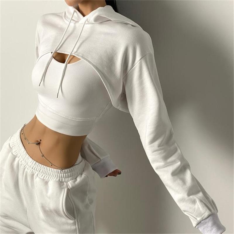 Women Fitness Crop Top  Cotton Sports  Shirts Long Sleeves Hoodie Sweatshirt Gym Workout Yoga T-shirts