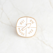 лучшая цена Enamel White Turntable Pin Buckle YES NO IDK MAYBE Brooch Pins Bag Denim Jackets Sweater Collar Pin Badge Jewelry Gift For Kids
