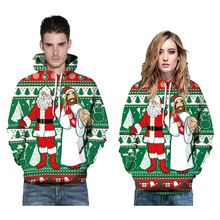 Christmas Hooded Sweater 3D Digital Printing Loose Couple Autumn Winter Funny Santa Long-Sleeved Pullover