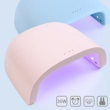 36W UV LED 네일 램프 핑크 블루 네일 라이트 젤 폴란드어 광택 치료 전문 네일 건조기 듀얼 소스 타이밍 매니큐어 SA1504