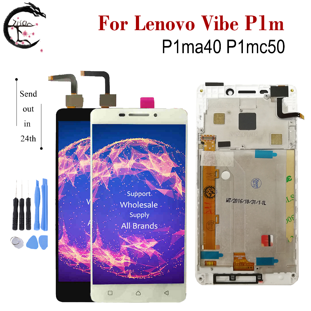 For Lenovo Vibe P1m LCD <font><b>P1ma40</b></font> P1mc50 Display With Frame Screen Touch Sensor Digitizer Assembly For LENOVO P1m Display 5.0