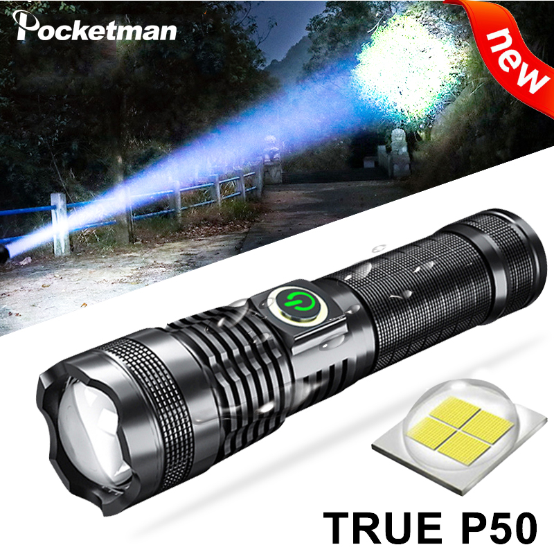 LED Torch 4000 Lumens XHP50 USB Rechargeable Flashlight 5 Modes Zoomable Tac...