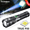 New XHP50 90000 Lumens LED Flashlight Built-in Battery Torch USB Light Charging 5 Modes Flashlight With Zoomable Power Display
