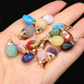 2 шт. натуральный камень, агат, кристалл в форме фасоли, розовый кварц/аметист, подвеска «сделай сам» для изготовления ожерелья или ювелирных...