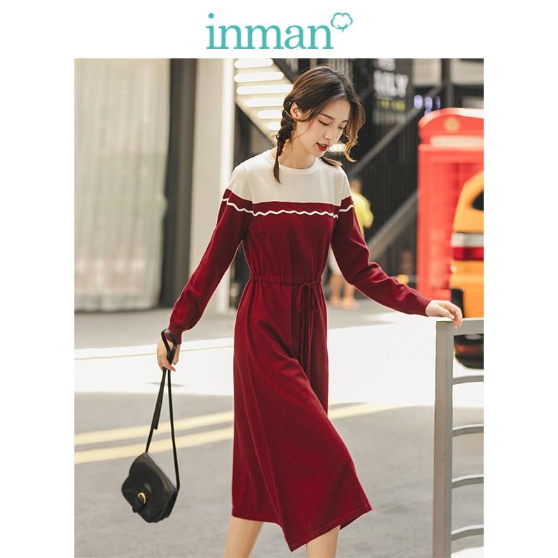 INMAN Winter Literary O-neck Long Sleeve Split Color Defined Waist Long Sleeve Women Knitted Dress