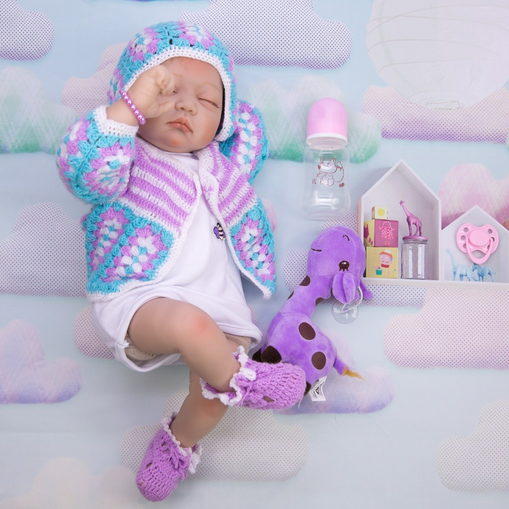 Lifelike Sleeping Girl 55 cm bebe Reborn Doll Realistic Silicone Newborn Babies...