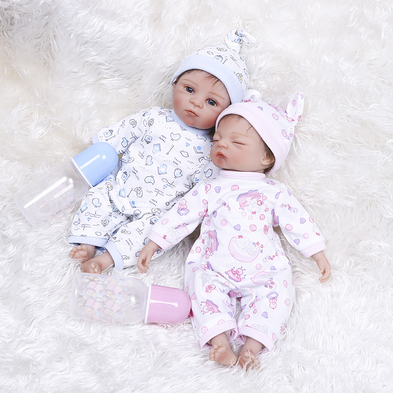35cm Twins Soft Full Silicone Body Reborn Baby Girl Dolls Lovely Baby Model Doll Photography Props Christmas Gifts Birthday Gift