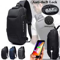 Men's Usb Anti theft Chest Bag Casual Shoulder Bag Waterproof Oxford Cloth Chest Bag For Mobile Phone