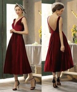 Image 1 - Simples veludo v pescoço sem costas chá comprimento vestido de noite vestido de baile 100% amostra real foto preço de fábrica