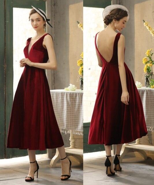 Simples veludo v pescoço sem costas chá comprimento vestido de noite vestido de baile 100% amostra real foto preço de fábrica