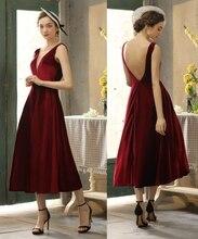 פשוט קטיפה V צוואר ללא משענת תה אורך שמלת ערב נשף שמלת 100% נדל תמונה לדוגמא במפעל מחיר