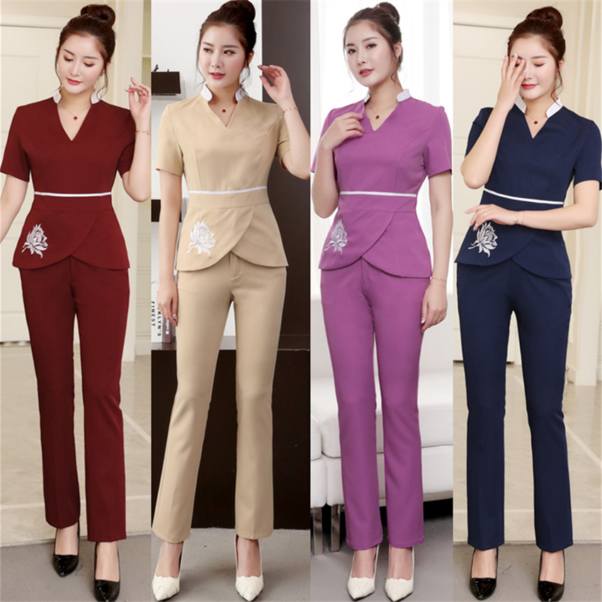 High Quality 2PCS Set Woman Dentist Hospital Spa Unifrom Beauty Salon Bar Overalls Massage Embroidery V-Neck Work Uniforms