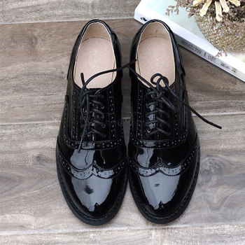 women oxford Flat spring shoes for woman genuine leather flats summer brogues vintage laces loafers casual sneakers shoes 2020 genuine leather women flats shoes new fashion high quality flat heel round toe shoes woman spring summer women casual shoes page 8