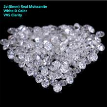 2ct(8mm) Moissanite Loose Stone White D Color VVS Moissanites Beads Diamond DIY Raw Material Hearts And Arrow Drop Shipping