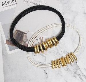 Image 4 - Di modo Pieghe Delle Donne del Metallo Cinture di Moda Femme Cummerbunds Elastici di Colore Solido Accessary
