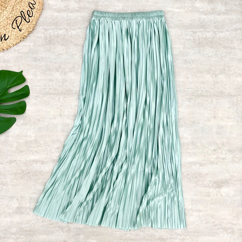 Spring Summer Women Midi Skirts Metallic Pleated High Strethed Waist Ice Cream Color Long Skirts Daily Casual Style