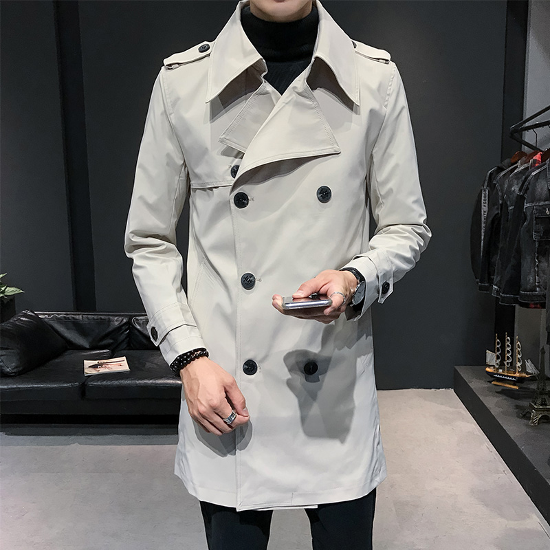 Mens Double Breasted Trench Coat Mens Army Green Windbreaker Loose Long Trench Coat Mens Off White Long Jackets Mens 2020 Spring