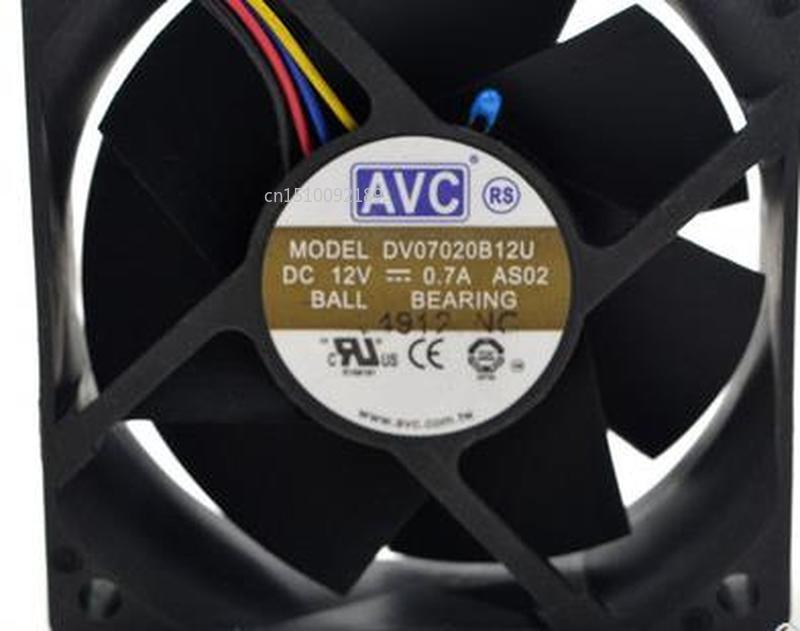 For Original 7020 DV07020B12U 12V 0.7A 7CM Breeze Volume PWM Temperature Control Double Ball Fan Free Shipping