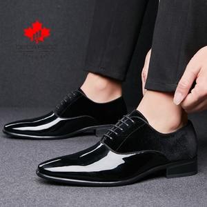 Image 4 - DECARSDZ Men Dress Shoes Men Wedding Fashion Office Footwear High Quality Patent Leather Comfy Men Formal Shoes Brand Men Shoes