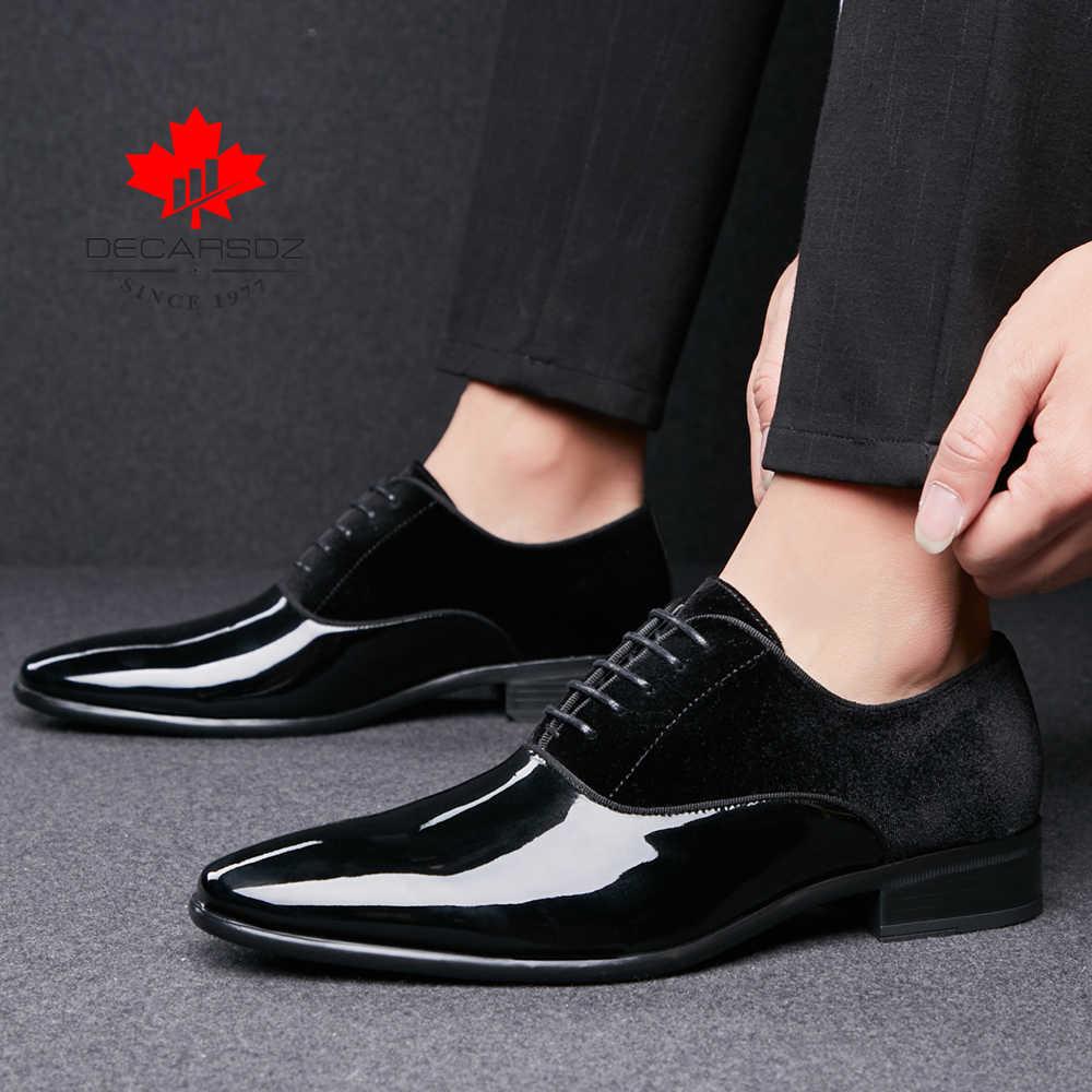 Uomini Scarpe Formali 2020 Primavera e Autunno di Marca Pattini di Vestito Da Sposa Degli Uomini di Nuova Pelle Scamosciata Scarpe Nero di Modo di Cuoio di Disegno Degli Uomini scarpe da