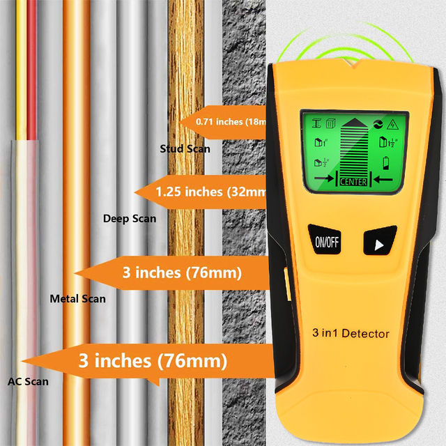 Vastar 3 In 1 เครื่องตรวจจับโลหะค้นหาโลหะStudsไม้แรงดันไฟฟ้าAC Live Wire Detect Wall Scannerไฟฟ้ากล่องFinder wall Detector