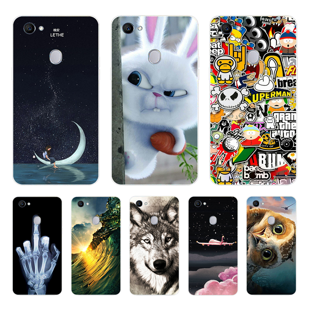 For <font><b>OPPO</b></font> <font><b>F7</b></font> <font><b>Case</b></font> Silicone Soft TPU WOLF Back cover For <font><b>OPPO</b></font> <font><b>F7</b></font> Cover Animal Cute Phone <font><b>Cases</b></font> For OppoF7 F 7 Covers Coque image