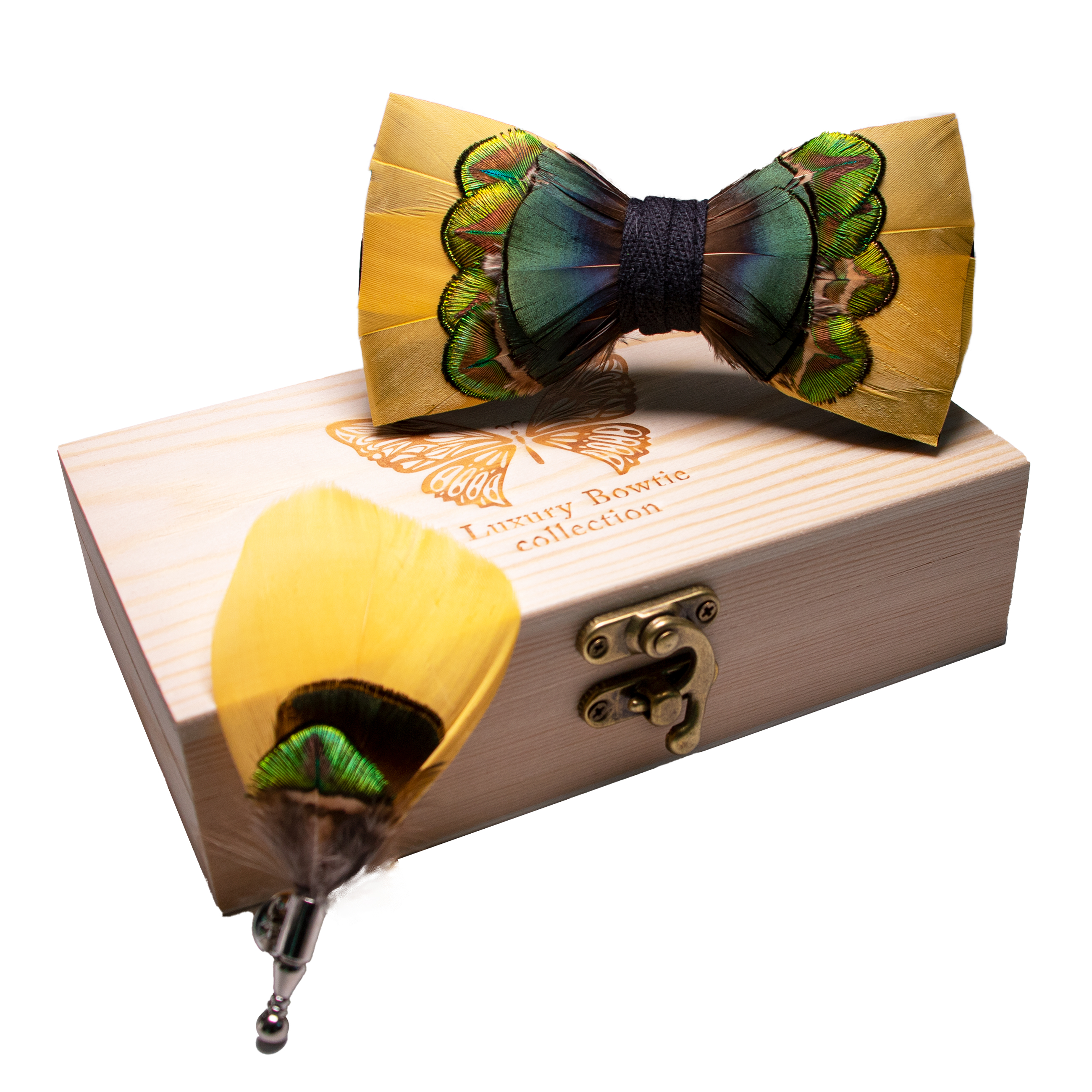 JEMYGINS 2019 New Original Design Bow Tie Orange Feather Bow Men's Bow Tie Brooch Wooden Box Carton Set Wedding Party Gift