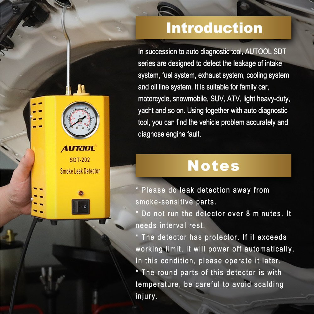 Image 4 - AUTOOL SDT202 автомобильный генератор дыма автомобильный детектор утечки дыма трубных систем тестер утечки дыма инструмент диагностики труб SDT 202-in Газоанализаторы from Автомобили и мотоциклы on