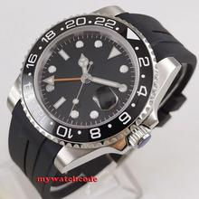 40mm black sterile dial sapphire crystal GMT ceramic Bezel rubber strap Automatic mens watch  B315 купить недорого в Москве