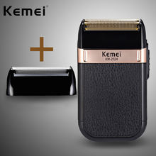 KEMEI New shaving machine USB charging reciprocating double mesh gold and silver knife washable shaver km-2024  5