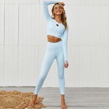 Осенне-зимний спортивный костюм с длинным рукавом для занятий фитнесом и йогой, комплект спортивной одежды из 2 предметов