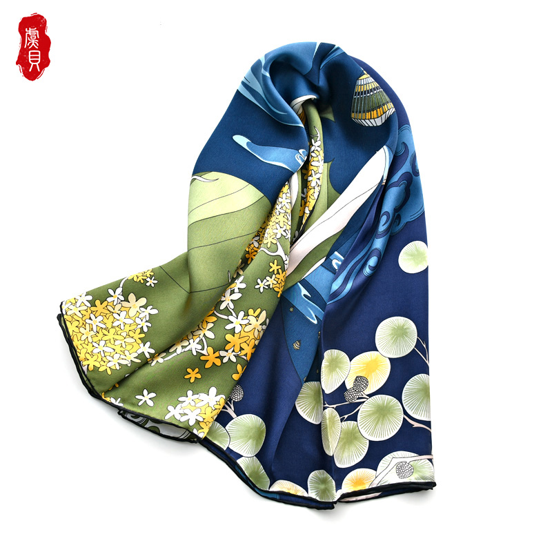 Dark blue natural silk scarf women printed lamp hair scarves satin shawl 100% real silk 90cm big square bandana gift for ladies|Women's Scarves| - AliExpress