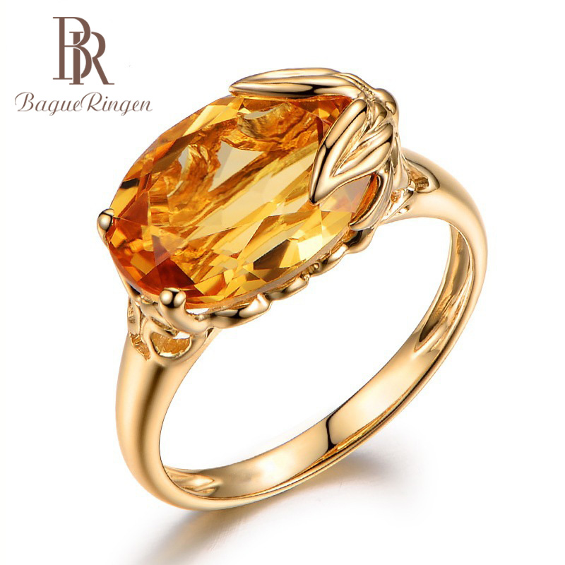 Bague Ringen Silver 925 Ring For Women  Oval Shape Topaz Gemstone Ring Female Jewely Engagement Anniversary Party Size 6-10