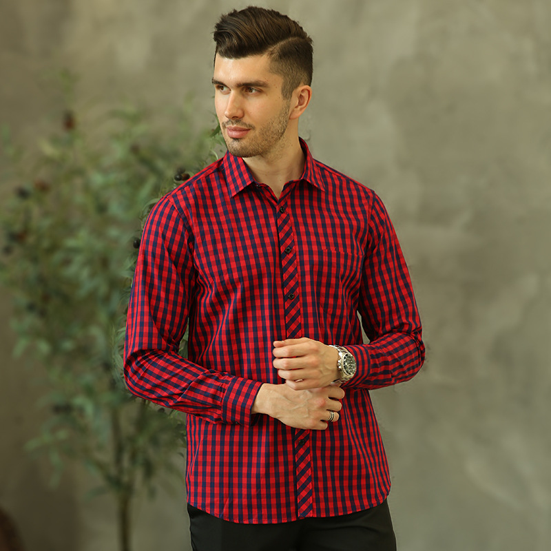 YYear Mens Loose Casual Plaid Long Sleeve Cotton Button Down Dress Work Shirt