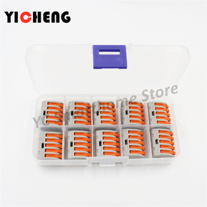 Image 2 - 10 Pcs Box Case Universal Compact Wire Bedrading Connector 2 Pin Dirigent Terminal Block Met Lever 0.08 2.5mm2 Draad connector Diy