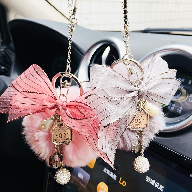 Diamond pendant bow hair ball pendant car rearview mirror decoration car interior accessories girl gifts