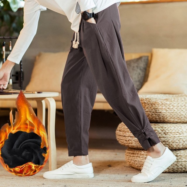 110 KG Soft Solid Gray Joggers Men Sweatpants Chinese Style Mens Trousers Large Size Thick Harem For Big Man Flare Pants 5