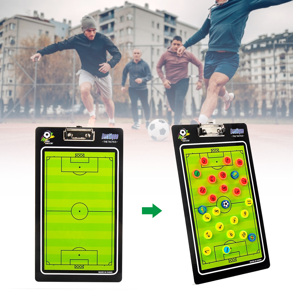 Buttons Portable Football Tactical Board Soccer PVC Guidance Aid Tool Magnetic With Pen Exercises Professional Coaching Training