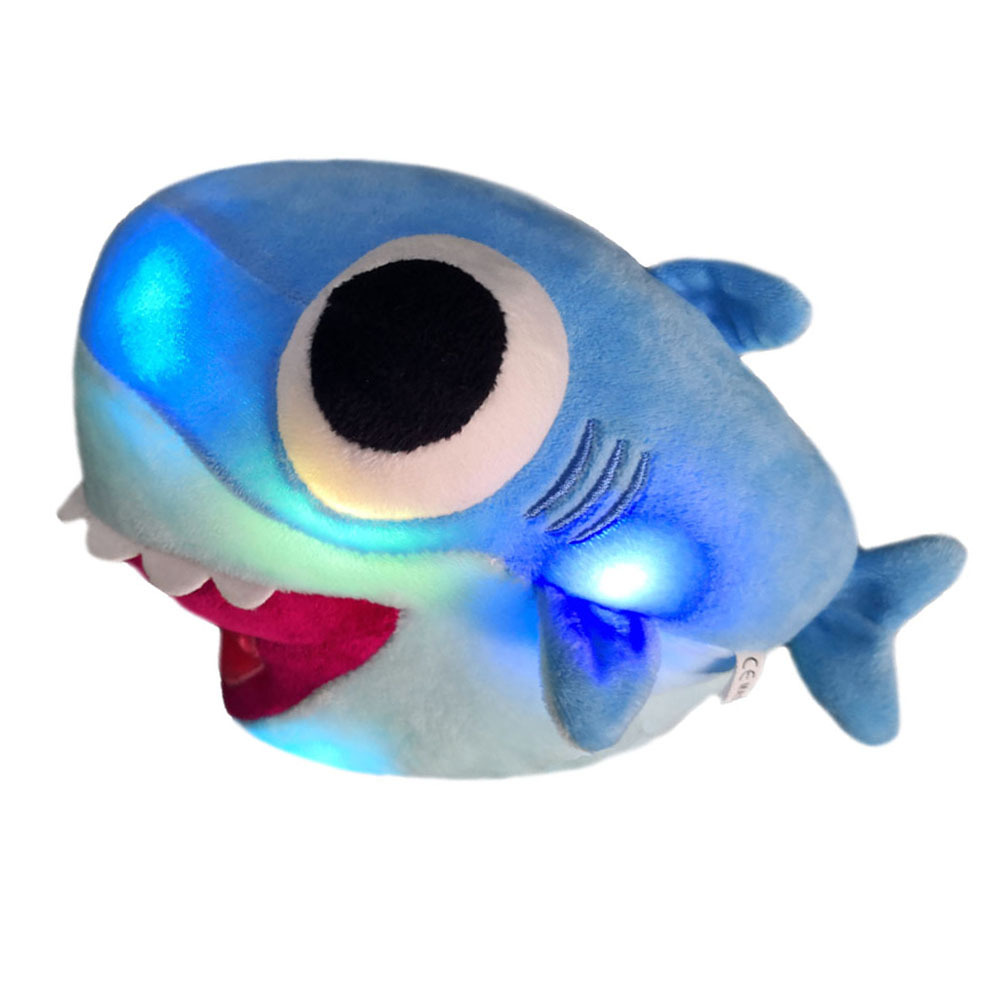 Hot Sale Stuffed Shark Toys Plush Kawaii Cute Animals Doll Comfortable Cartoon Big Eye Music Glow Stress Relief Toys Funny Gift