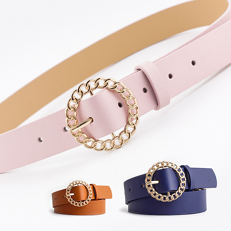 Women's Round Buckle Belts Female Jeans Wild Belt Black White Pink Imitation Leather Simple Retro Decoration Women's Waist Belt