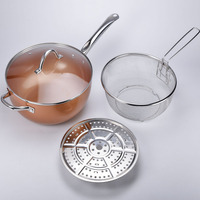 Nonstick pan Wok and Stir Fry Pans with Lid, Copper Skillet Deep Frying Pan with Induction Base