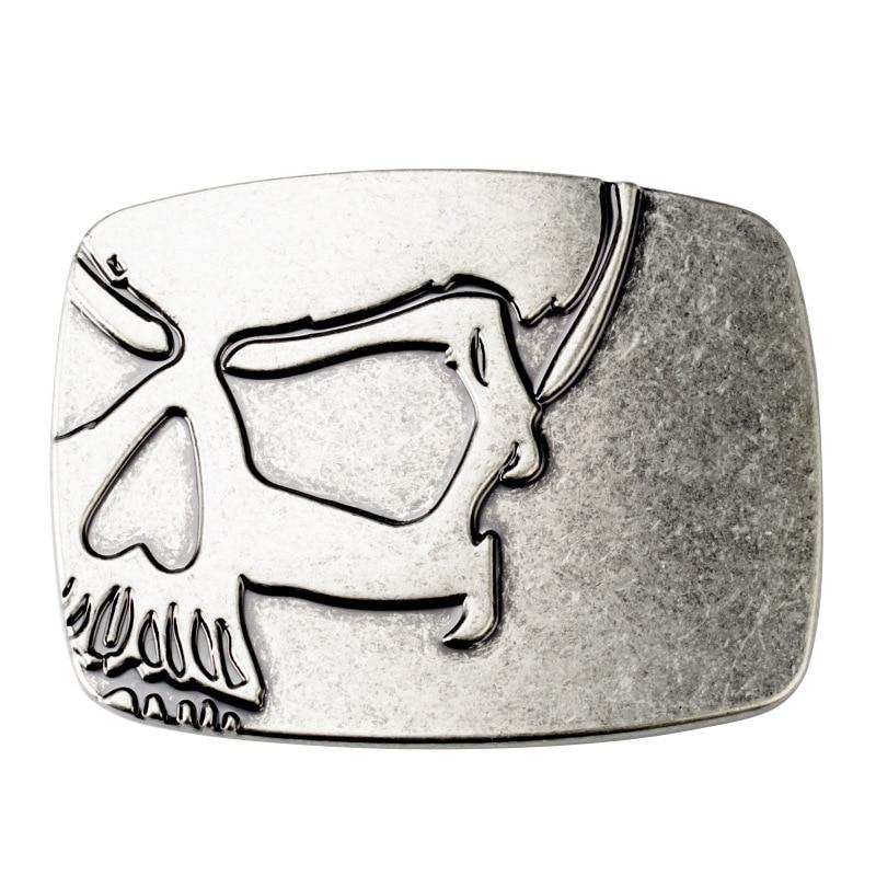 Vintage Skull Men's Belt Buckle Head Western Cowboy Jeans Silver