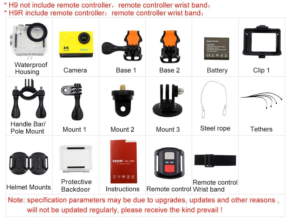 Action Camera 4K/30FPS 1080p/60fps 20MP Ultra HD  Mini Helmet Cam WiFi Waterproof Sports Camera From EKEN H9 H9R-2